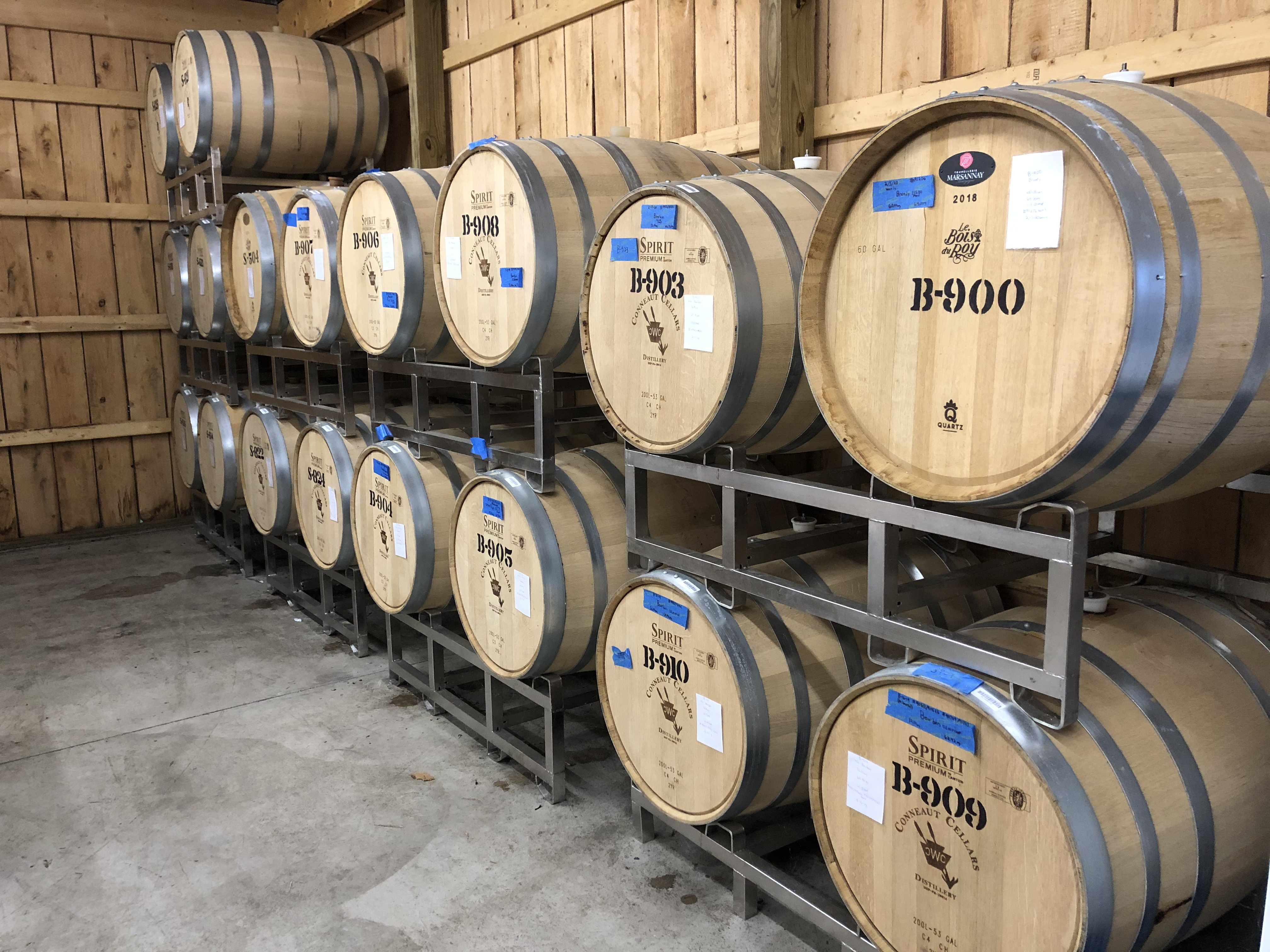 Conneaut Cellars spirits are aged on site at the distillery in Conneaut Lake, PA.